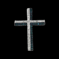 White Gold Blue & White Diamond Cross