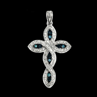 Diamond Cross White and Blue Diamond Cross Pendant