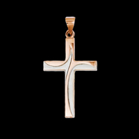 Rose & White Gold Cross Pendant