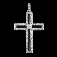 White Gold Diamond & Onyx Cross