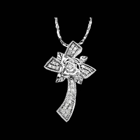 Diamond Cross Floral Diamond Cross