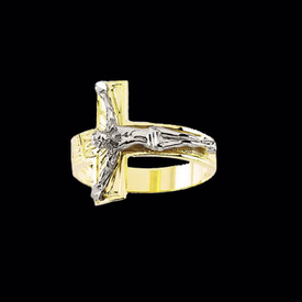 Gents 14K Gold Crucifix Ring
