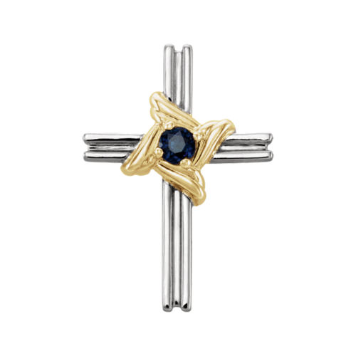 14k Gold and Sapphire Cross Pendant