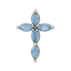 Gemstone Cross Aquamarine Marquise Cross Pendant