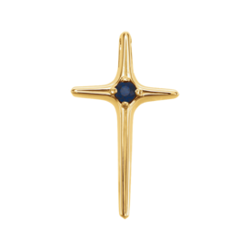 Gemstone Cross Blue Sapphire Cross Pendant