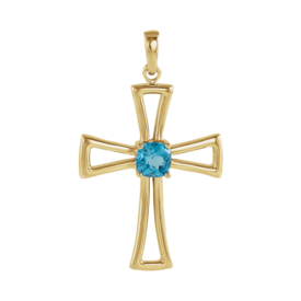 Topaz Gold Cross Pendant