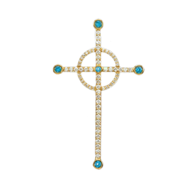 Blue Topaz and Diamond Cross Pendant