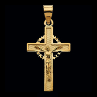 14kt Gold Two Tone Crucifix Pendant
