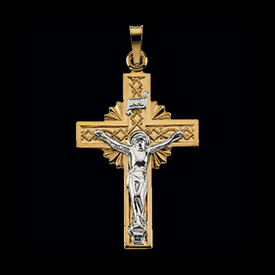 Crucifix 14k Two Tone Gold Crucifix