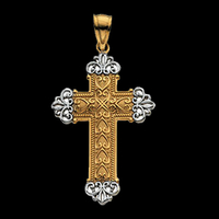 Pretty Two Tone Cross Pendant
