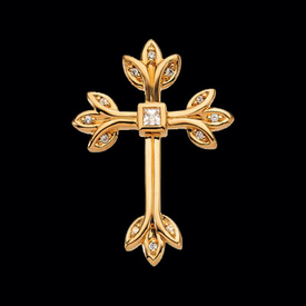 Diamond Tre Design Cross Pendant