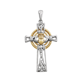 14k Two Tone Claddagh Cross
