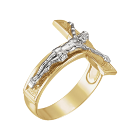 Men's Two Tone Gold Crucifix Ring