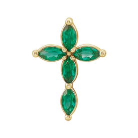 Gemstone Cross Emerald Marquise Cross Pendant