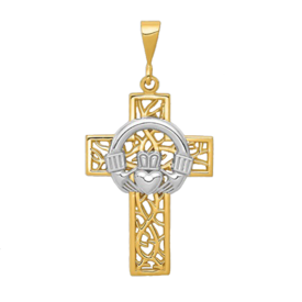 Gold Cross Pendant Celtic Vine Gold Cross Pendant