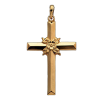 14k Gold Center Flower Cross