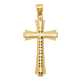 Large Diamond Cut Satin Cross Pendant
