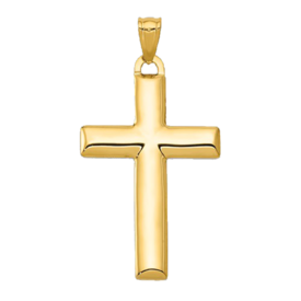 Gold Cross Pendant 14k Gold Reversible Latin Cross