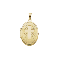Oval Gold Cross Locket