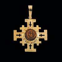 Jerusalem Cross with Widow's Mite Coin