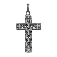 Gold Cross Pendant 14kt Gold Panther Style Cross Pendant