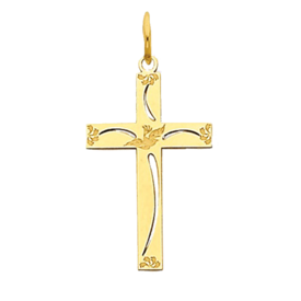 14kt Gold Laser Design Dove Cross
