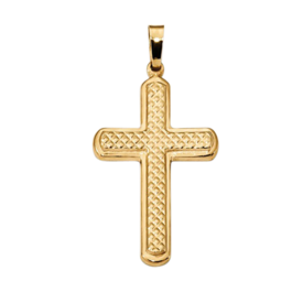 Polished, Textured Quilt Design Cross Pendant