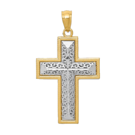 Gold Cross Pendant Two Tone Filigree Cross Pendant