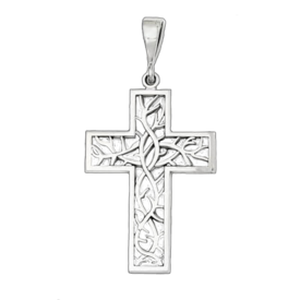 Gold Cross Pendant White Gold Thorn Cross