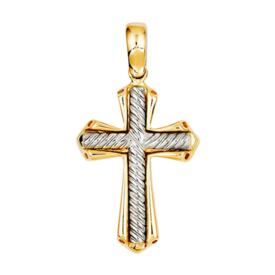 Large Cross Pendant 14k Gold Two Tone Solid Cross Pendant