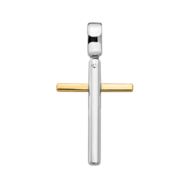 Large Cross Pendant 14k White & Yellow Gold Pendant