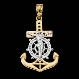 14k Gold Mariners Crucifix Pendant