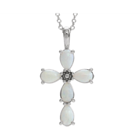 Gemstone Cross 14k Gold Opal Cross Pendant