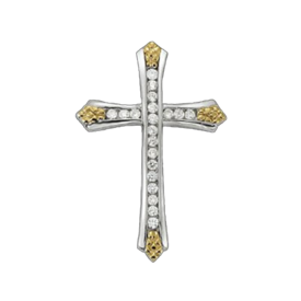 Diamond Cross Dazzling Two Tone Diamond Cross
