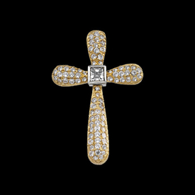 Two Tone Princess Diamond Cross