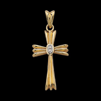 Large Diamond Gold Cross Pendant
