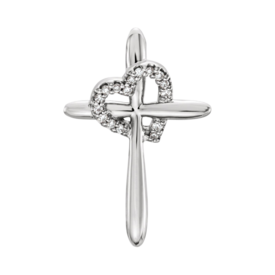 Diamond Cross Dainty Diamond Heart Cross