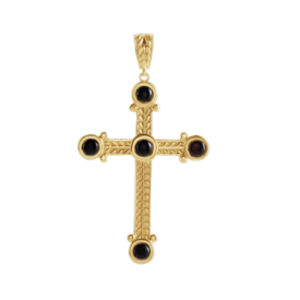 Gemstone Cross Large Onyx Gold Cross Pendant