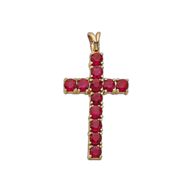 Gemstone Cross Ruby, Sapphire, Diamond Cross