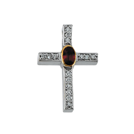 Gemstone Cross Ruby and Diamond Cross Pendant
