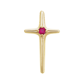 Gold Ruby Cross Pendant
