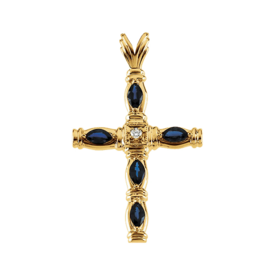 Gemstone Cross Large Sapphire Diamond Cross