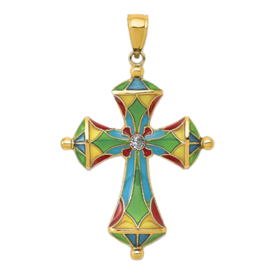 Stained Glass Passion Cross Pendant
