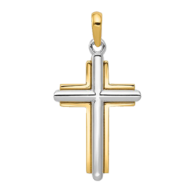 Gold Cross Pendant Bold Latin Two Tone Gold Cross
