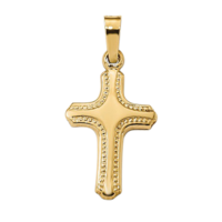 Polished and Textured Cross Pendant