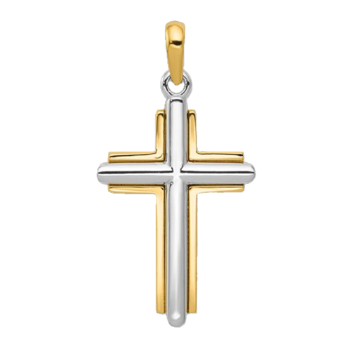Bold Latin Two Tone Gold Cross