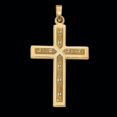 Fancy Textured & Polish Cross Pendant
