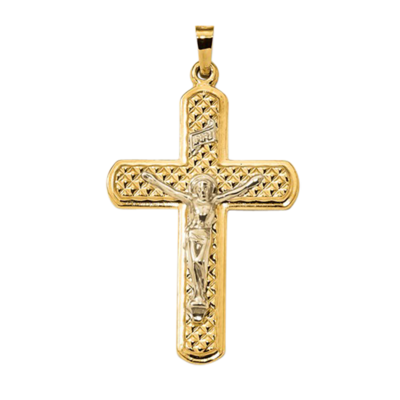Quilted Back 14k Gold Crucifix Pendant