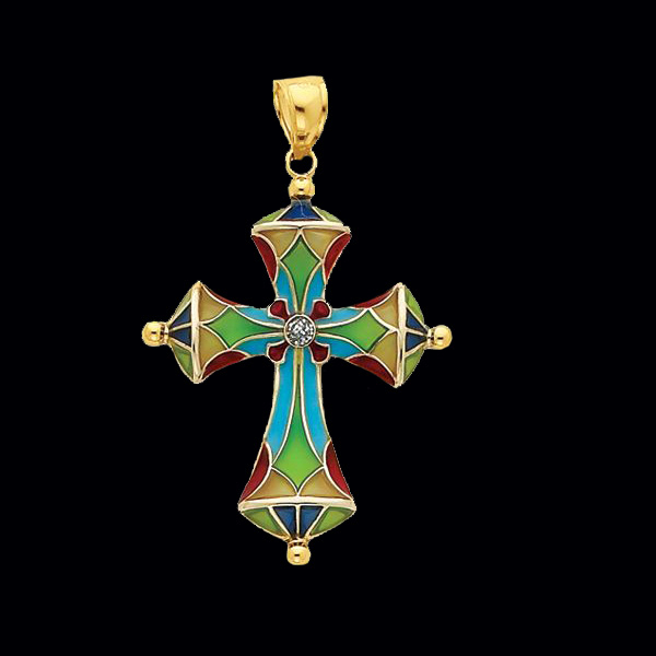 Stained Glass Passion Cross Pendant Gracious Rose