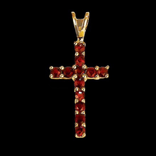 Simple Garnet Cross Pendant Gracious Rose